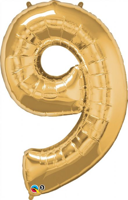 Number 9 Gold Super Shape Number Foil Balloon